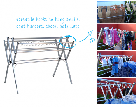 Clothes airer versatile hooks to hang your smalls or coat hangers